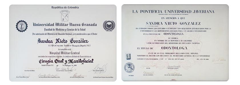 Diplomas Dra. Sandra Nieto